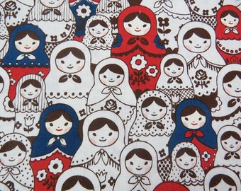 2530A -- Kawaii Matryoshka Doll Print Fabric Prussian Blue/Red in White, Russian Doll Fabric, Japanese Fabric, Cosmo Textile