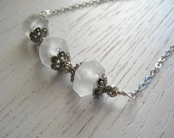SALE - White Indonesian Recycled Frosted Glass Beads Necklace