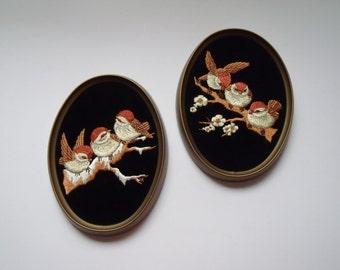 Framed Chickadees on Black Velvet Hand Embroidered t 7.5 x 5.5 inches
