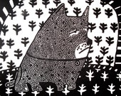 Dog on Sofa Sister Parish fabric linocut print
