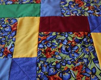 CLEARANCE Van Gogh Floral Shuffled 9 Square Pattern Quilt Lap Blanket Blue Fleece Back