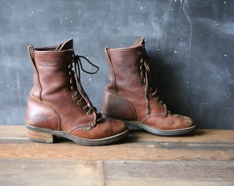 Country Western Leather Boots Ropers Lacers Ankle High Soft and Waterproof From Nowvintage on Etsy