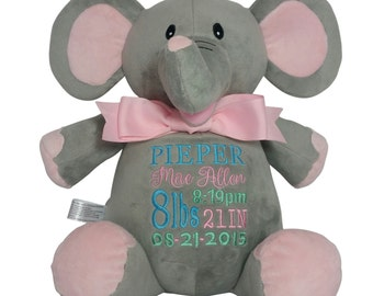 Personalized Pink Elephant Baby Gift, Custom Embroidery, Birth Stats, Plush Animal, Child Keepsake & Toy
