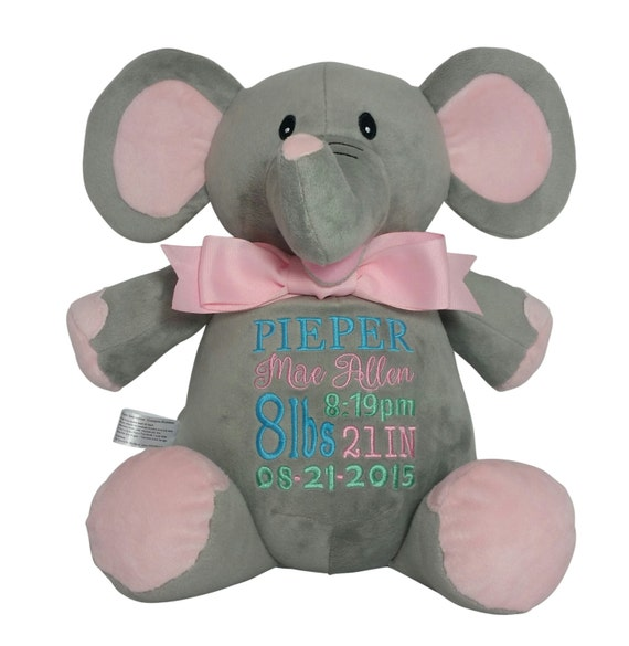Personalized pink elephant baby gift custom embroidery birth