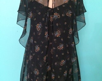 1970's designer black chiffon floral print maxi dress with matching capelet EXTRA SMALL/SMALL