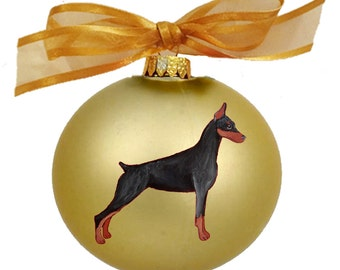 Doberman Dog Hand Painted Christmas Ornament - Can Be Personalized with Name