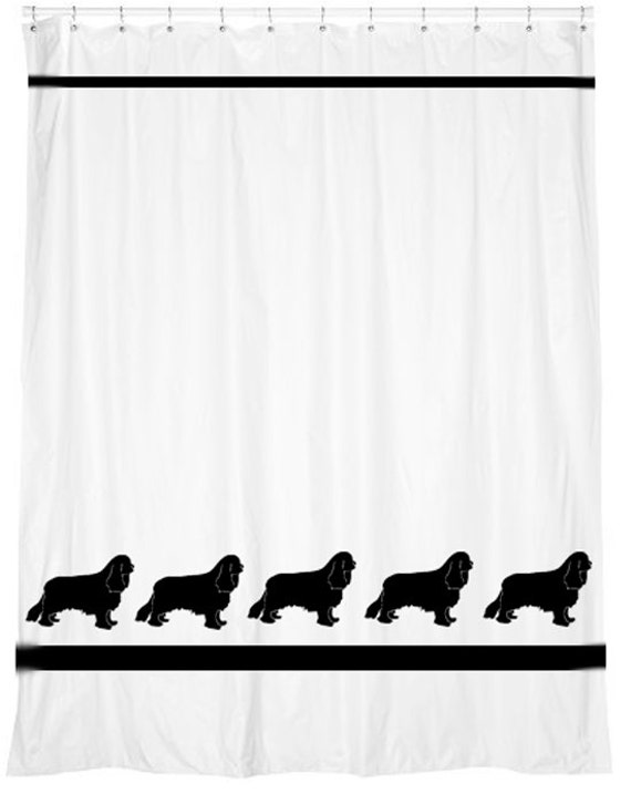 CKCS Cavalier King Charles Spaniel Shower Curtain  -  Your Choice of Colors Also