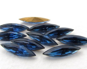 Vintage Rhinestone Navette Montana Sapphire Dark Blue Glass Jewel 15x4mm rhs0567 (10)
