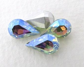 Vintage Swarovski Crystal Rhinestone Chrysolite AB Pear Teardrop Green Jewel 13x8mm swa0733 (4)
