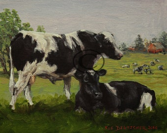 Holstein Dairy Cows - original acrylic painting - hand painted - 8x10