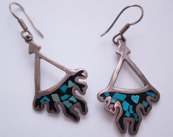 turquoise + onyx sterling silver dangle earrings