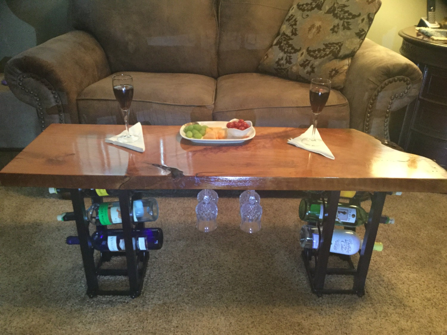 Coffee Table Live Edge Cherry Wine Rack By Gor1don On Etsy