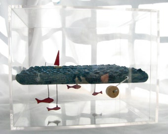 wooden boat automaton, nautical sculpture, plastic box, fish decor, kinetic wood sculpture, man cave decor