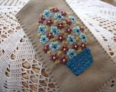 Hand Embroidered Beige Felt Glasses Case