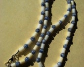 Necklace Blue Sodalite and White Coral Gemstone Beads 23 Inches