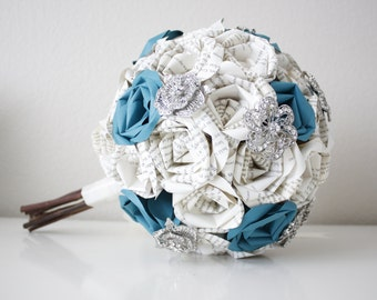 Teal Paige Book Page Paper Rose Brooch Bouquet