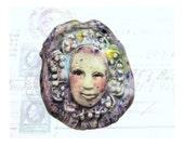 clay art bead, Focal Bead, ceramic bead, green bead - OOAK bead - purple bead -   # 187