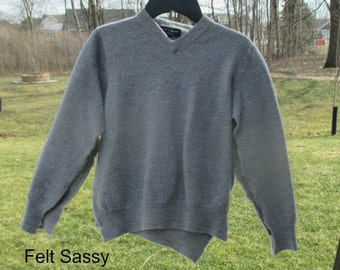 SALE - Supply - Felted Wool Sweater - Grey 1  - Recycled Fabric Material