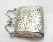 Engraved Vintage Sterling Silver Purse, Handbag Pendant