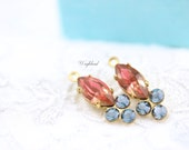 Fused Jonquille Red & Aquamarine Satin Vintage Earring Drops Navette Rhinestone Swarovski Crystals 18x7mm Brass Prong Settings - 2