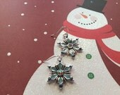 Blue Crystal Snowflake Earrings