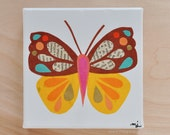 Original Paper Collage on Canvas - Yellow, Pink & Tan Butterfly - One of a Kind by Megan Jewel