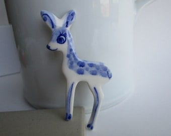 Fawn - Handpainted Delft Porcelain Brooch
