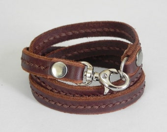 Leather Bracelet Leather Wrap Bracelet with Metal Alloy Clasp Silver Tone Hand Stitched in brown