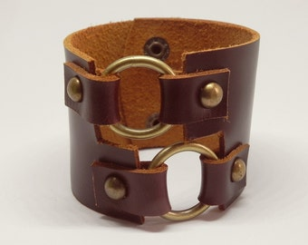 Dark Brown Rustic Double Rings Leather Cuff Leather Cuff Leather Bracelet Hand Cut