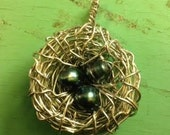Large Birds Nest Pearl and Stone Eggs Made with LOVE