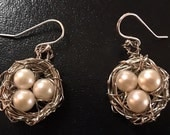 Robins Egg Nest Earrings with Genuine Pearls and Sterling Silver Ear Wires