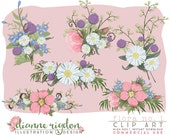 Floral Clip Art - .PNG Commercial Use - Professional Use - Instant Download-High Res-Digital - Flora 1 Bouquet
