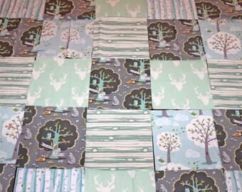 DIY Baby Rag Quilt Kit, Blanket, Modern, Rustic, Sweet, Baby, Boy, Girl, Unisex, Mint, Blue, Grey,Gray, Toddler, Trees, Deer,Buck,Stag,35x35