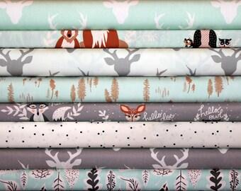Hello Bear, Bundle,Mint,Gray, Grey,Soft,Blue, Buck, Forest, Silver, Art Gallery Fabrics,Modern, Rustic,In Custom Cuts, FREE SHIPPING to US