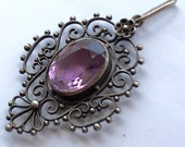 ON HOLD FOR B....Amethyst and Sterling Silver Filigree Pendant Ornate Scrolls Vintage