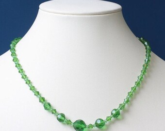 CIJ Sale Green Crystal Bead Necklace Faceted Beads 16.5  Inches Long Vintage