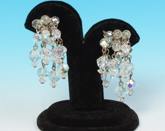 Aurora Borealis Crystal Cascade Earrings Six Strands Vintage