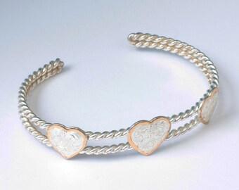 Southwestern Style Heart Cuff Bracelet Silver Tone Metal