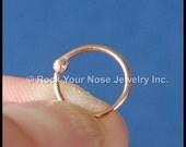 14 Karat Solid Budded Gold Nose Ring - Rose Pink Gold - CUSTOMIZE