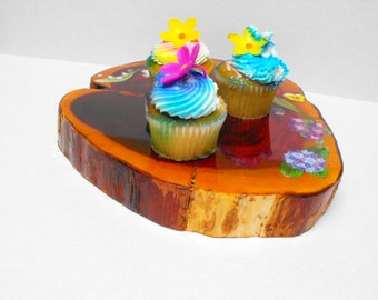Flowers Cupcake, Pie, Cake Display Wood