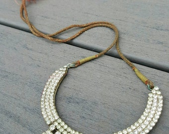 Lovely old bohemian rhinestone necklace