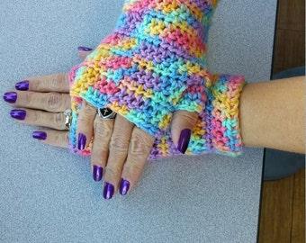 Rainbow fingerless mitts arm warmers