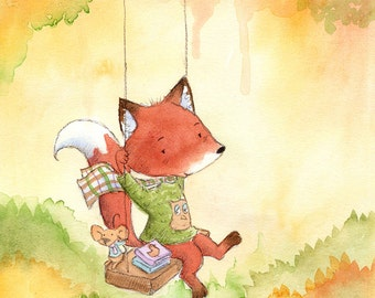 The Fox and the Mouse -  Art Print - Animals