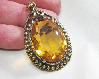 Chunky Vintage Danecraft Sterling Silver Pendant - Citrine Color Glass Stone - 10.4 Grams
