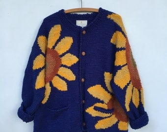 Vintage 90s Sunflower Hand Knitted Cardigan Sweater Express Tricot Oversized