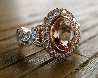 Oval Morganite Engagement Ring in Two Tone 14K White & Rose Gold with Diamonds in Halo, Flowers and Leafs Size 3.5