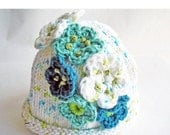 SALE 30% OFF - Hand Knit Baby Hat, Crochet Flowers, Cotton Yarn White, Turquoise, Aqua Blue, Size 3 - 6 mos