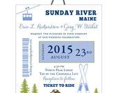 Ski Pass Mountain Wedding, Skis and Trees Gondola Colorado Wedding Invitation