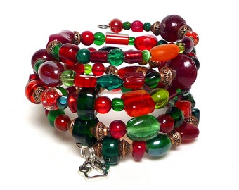 GARNETS AND JADE coil Beaded Bracelet by Beading Divas Fundraiser