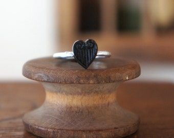 Handmade Silver Artisan Ring with Antique French Mourning Glass Heart